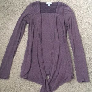 Sweaters - Heathered Purple Long Sleeved Cardigan
